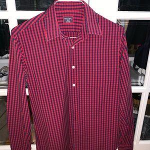 Untucket men's shirt medium red and blue check